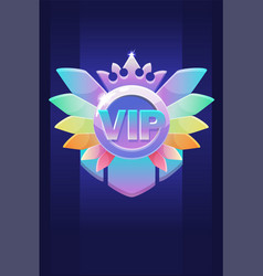 Vip award badge prize with a diamond crown for ui vector