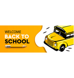 welcome back to school horizontal banner school vector image