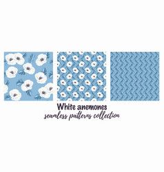 White anemones on the blue seamless pattern vector