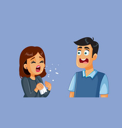 Woman sneezing next to her scared husband vector