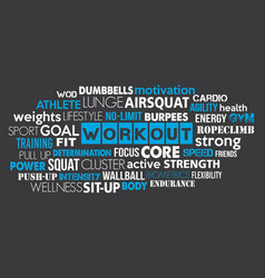 workout sport word cloud concept text is outline vector image