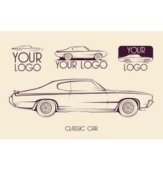 American classic sports car silhouettes logo vector