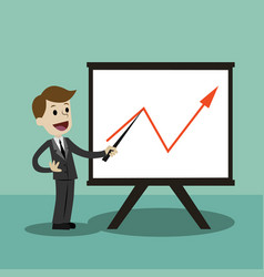 business man making a presentation in front of vector image