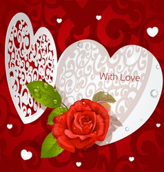 Delicate Valentine applique with red rose vector image vector image