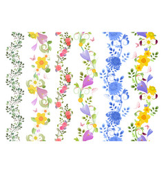 fancy floral set of seamless borders with roses vector image vector image