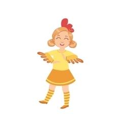 Girl Wearing Chicken Animal Costume vector image