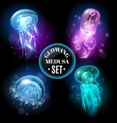 glowing jellyfish medusa set poster vector image