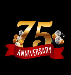 golden 75 years anniversary template with red vector image vector image