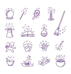 magic icons in line style vector image
