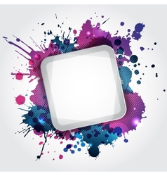 Modern white frame with blue blots vector image vector image