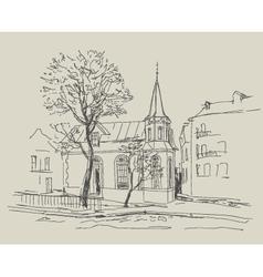 Old city street - sketch vector image vector image
