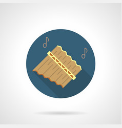 pan flute music flat round icon vector image