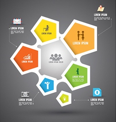 pentagons group with icons vector image