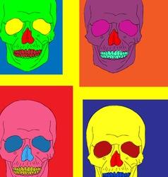 pop art skull vector image vector image