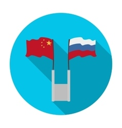 Russia and China flags icon in flat style isolated vector image vector image