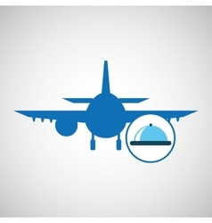silhouette blue icon service room hotel design vector image