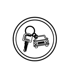 Silhouette circular border with car keychain icon vector