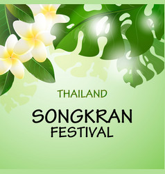Songkran festival in thailand with flowers vector