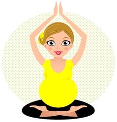 Yellow yoga girl isolated on circle background vector image vector image