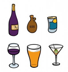 alcoholic drinks vector image vector image