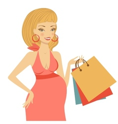 Beautiful mom to be holding shopping bags vector image