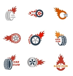 black Racing labels icon set vector image vector image
