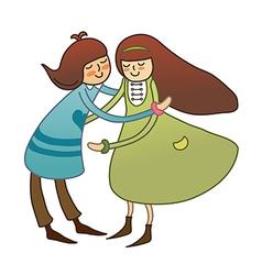Boy and Girl Embracing vector image