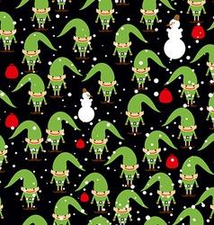 Elf Santas helper seamless background Feast of vector image