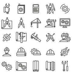engineering thin line icon set vector image