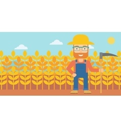 Farmer on the field with scythe vector image vector image