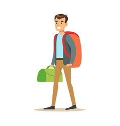 happy young man traveler standing with backpack vector image