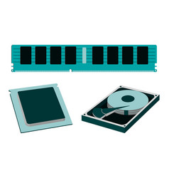 parts for personal pc icon hdd ram cpu vector image vector image
