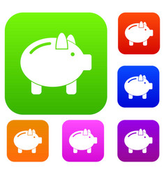 piggy bank set collection vector image vector image