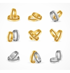 Rings Set Made of Silver and Gold vector image