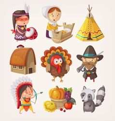 Set of thanksgiving items and characters vector image
