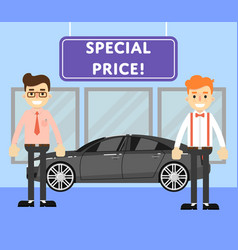 Special price for auto concept with car salesmen vector