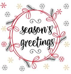 Christmas calligraphy Season s Greetings Hand vector image