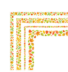 four corners made from cute autumn leaves isolated vector image