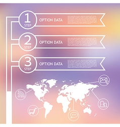 Infographic world map and step ribbon vector image