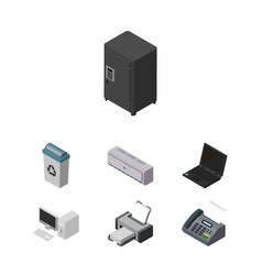 Isometric work set of garbage container strongbox vector