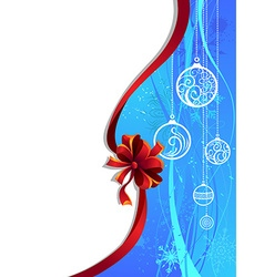 Blue Christmas wallpaper with red ribbon vector image vector image