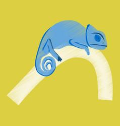 flat shading style icon chameleon vector image