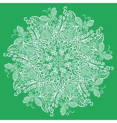 mandala Green background White ornament vector image vector image