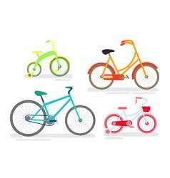 set of bicycles bike cycling vector image vector image