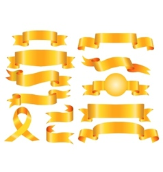 The collection yellow ribbons banners vector image vector image
