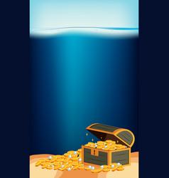Underwater scene with gold in treasure chest vector
