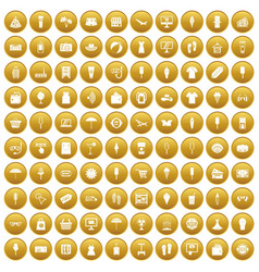 100 summer shopping icons set gold vector