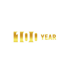 100 year happy birthday gold logo on white vector image