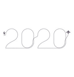 2020 airplane dotted line path new year air plane vector image