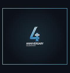 4 years anniversary logotype with cross hatch vector